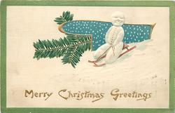 MERRY CHRISTMAS GREETINGS snowman on sled, evergreen left