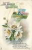 A HAPPY EASTERTIDE  white anemones & rural inset in cross