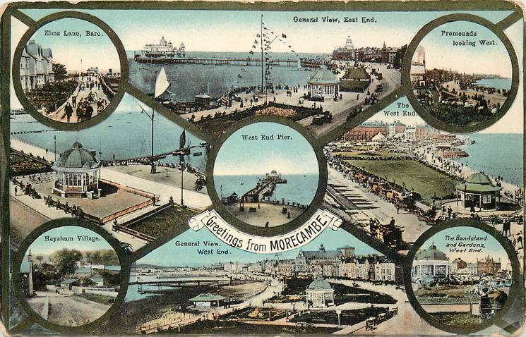 9 insets GENERAL VIEW EAST END//ELMS LANE, BARE//PROMENADE LOOKING WEST//,,THE BANDSTAND  AND GARDENS WEST END