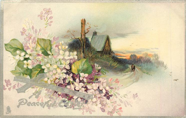 A HAPPY EASTER cottage with peaked roof behind topped tree left, rural road with 2 distant people right, purple & white violets left
