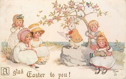 A GLAD EASTER TO YOU!  rabbit reading to children
