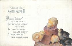 WISHING YOU A HAPPY EASTERTIDE  four chicks & flower-pot