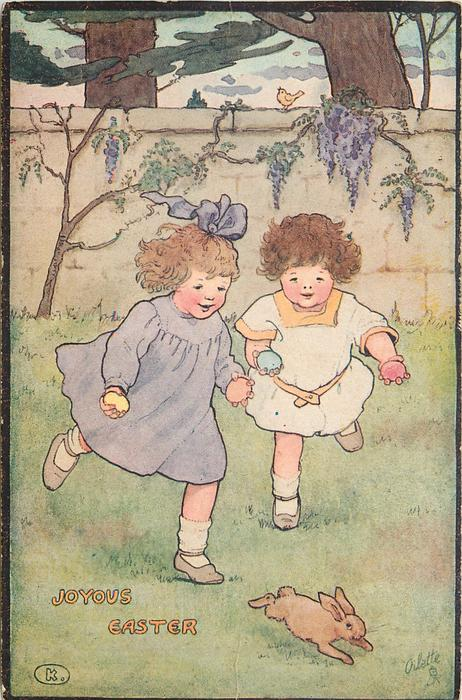 JOYOUS EASTER  two children hold eggs and chase rabbit