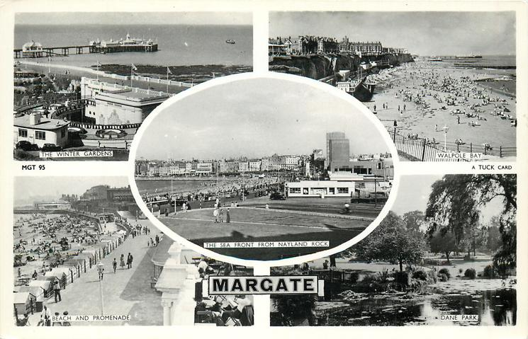 5 insets  THE WINTER GARDENS/WALPOLE BAY/THE SEA FRONT FROM NAYLAND ROCK/BEACH AND PROMENADE/DANE PARK