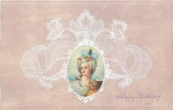 oval inset head & shoulders of lady in fancy blue hat, facing slight left,  floral corsage, lace surround on pink background