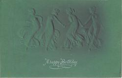A HAPPY BIRTHDAY (in white), four ladies in revealing long dresses hold hands dancing in line, deep green background