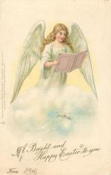 A BRIGHT AND HAPPY EASTER TO YOU   FROM  angel reads text facing front right
