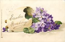 EASTER GREETINGS egg on its side containing many violets