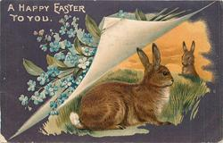 A HAPPY EASTER TO YOU two rabbits under turned up page & forget-me-nots, one rabbit looks right/faces right, sunset behind