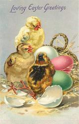 LOVING EASTER GREETINGS 3 chicks stand left of basket holding three coloured eggs