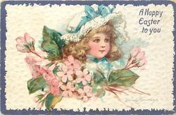 A HAPPY EASTER TO YOU  golden haired girl's face above pink blossom, she wears white hat with blue ribbon