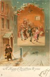 A HAPPY CHRISTMAS TO YOU  inset of dance, snow scene outside