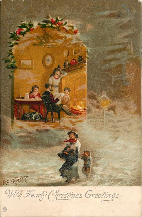 WITH HEARTY CHRISTMAS GREETINGS  inset of fire-side, snow scene outside