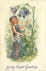 LOVING EASTER GREETINGS fairy in purple holds rope attached to stem of purple flowers, daisies in background