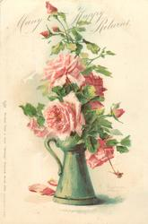 MANY HAPPY RETURNS  green vase with handle, pink roses
