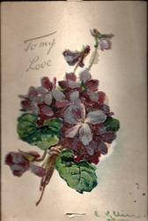 TO MY LOVE  posy of violets & novelty fan opens