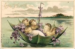 EASTER JOY ATTEND YOU chicks & eggs float in green umbrella boat with violets