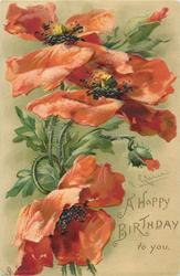 A HAPPY BIRTHDAY TO YOU  three red poppies & two buds