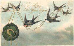 A HAPPY NEW YEAR TO YOU  6 swallows, lower swallow flies left, blue-green seal left