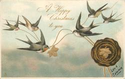 A HAPPY CHRISTMAS TO YOU,  6 swallows lower swallow flies right,leaf, blue seal right