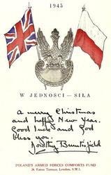 1943  W. JEDNOSCI--SILA  crest Poland, U.K. & Polish flags