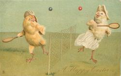 A HAPPY EASTER  two chicks play tennis