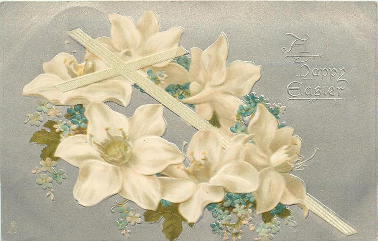 A HAPPY EASTER white lenten roses & forget-me-not wreath around cross leaning left