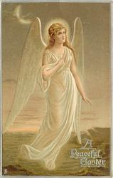 A PEACEFUL EASTER  angel in white, one hand to chest, faces partly right, looks up