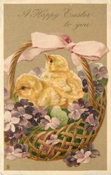 A HAPPY EASTER TO YOU two chicks in basket with violets