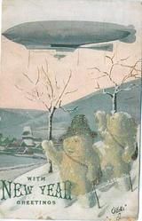 two snowmen  on snowy hill, airship above