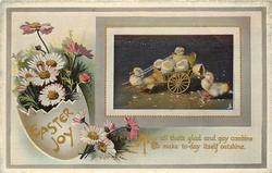 EASTER JOY  duckling pulls cart, egg & pink-white or purple daisies