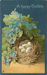 A HAPPY EASTER TO YOU nest with 7 eggs, forget-me-nots