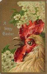 A HAPPY EASTER cockerel faces left, beak open, blossoms behind