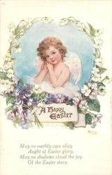 A HAPPY EASTER  angel insert surrounded by violets below and white flowers above