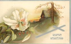 EASTER GREETINGS  cottage behind tree on a hillside, Easter lily left