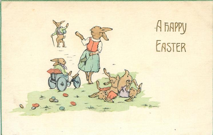 A HAPPY EASTER  bunny father leaving, two kids weltering on grass, third kid in cart pulled by mother who waving to father