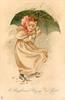 A BRIGHT AND HAPPY NEW YEAR  girl in red bonnet walks right, looking front, under green umbrella in snow storm
