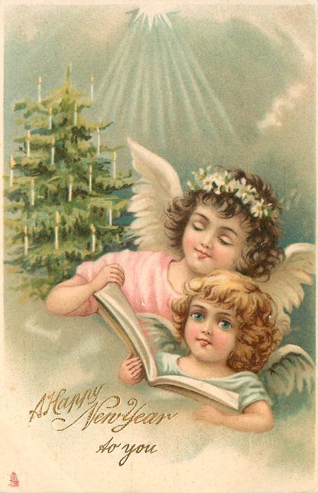 A HAPPY NEW YEAR TO YOU  two angels with song book, tree with lighted candles in background