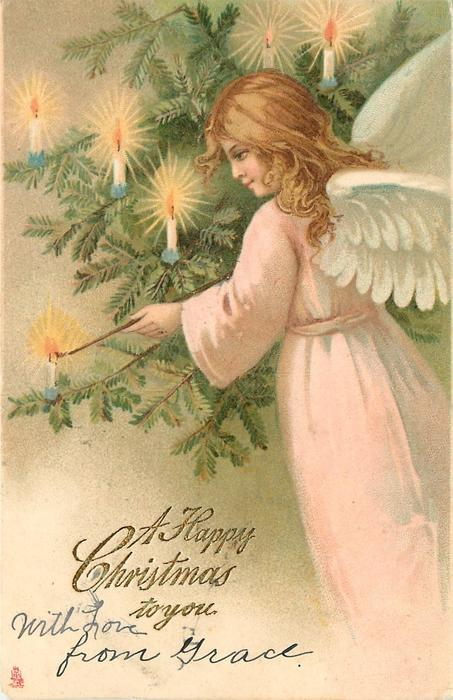 A HAPPY CHRISTMAS TO YOU angel lightning candles on tree