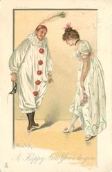 A HAPPY NEW YEAR TO YOU Pierrot & Pierrette bow to each other