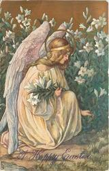 A HAPPY EASTER kneeling angel picks Easter lilies