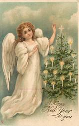 A HAPPY NEW YEAR TO YOU angel, left, admires Xmas tree, right