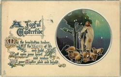 A JOYFUL EASTERTIDE  Jesus & sheep in circular insert