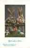 EASTER JOY BE YOURS  2 rabbits look over low fence, 2 Easter eggs in basket, 2 on ground