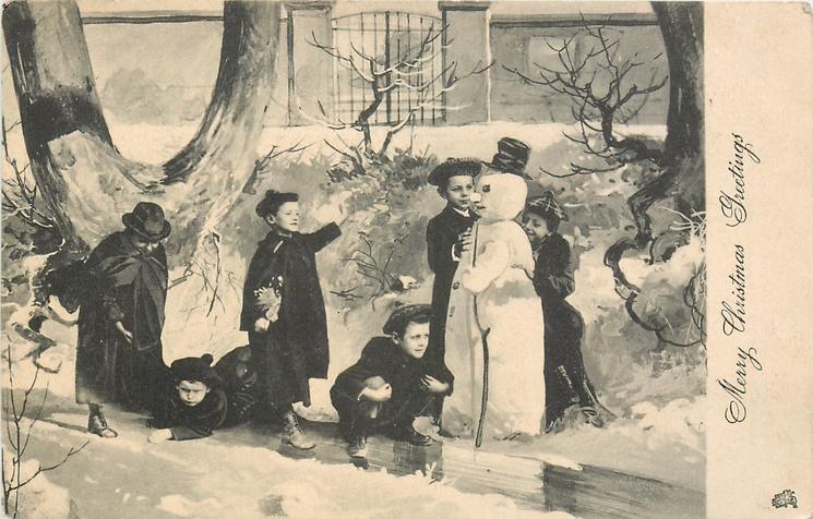 MERRY CHRISTMAS GREETINGS  children around snowman