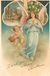TO WISH YOU A HAPPY CHRISTMAS angel in blue praying, , inset top