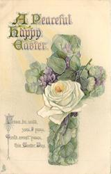 A PEACEFUL HAPPY EASTER floral violet cross, rose