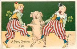 A MERRY NEW YEAR GREETINGS pig dancing between two clowns