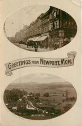 GREETINGS FROM NEWPORT, MON., HIGH STREET FROM SHAFTESBURY HOTEL and ALTERYN