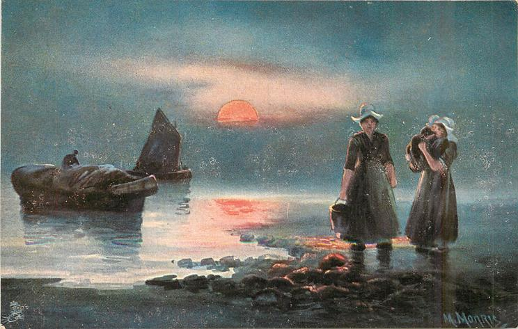 Dutch sea landing scene, two women ashore right, one carrying child, two boats left